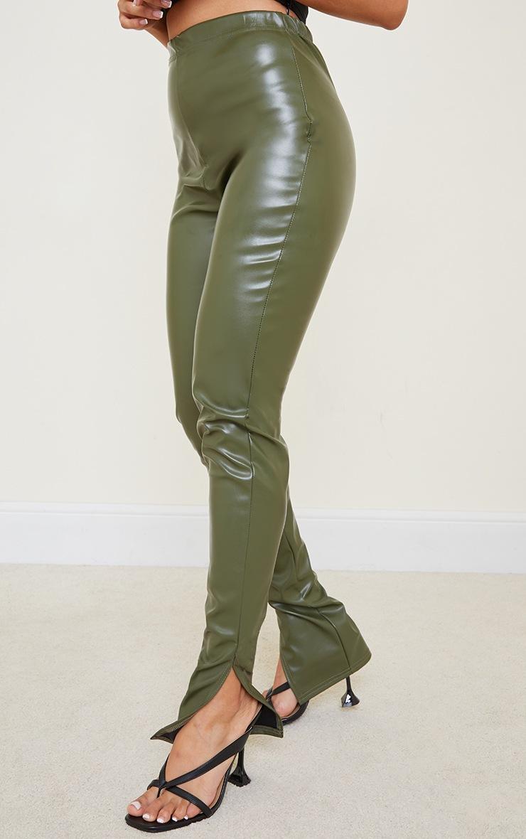 Petite Khaki Faux Leather Split Hem Leggings 2