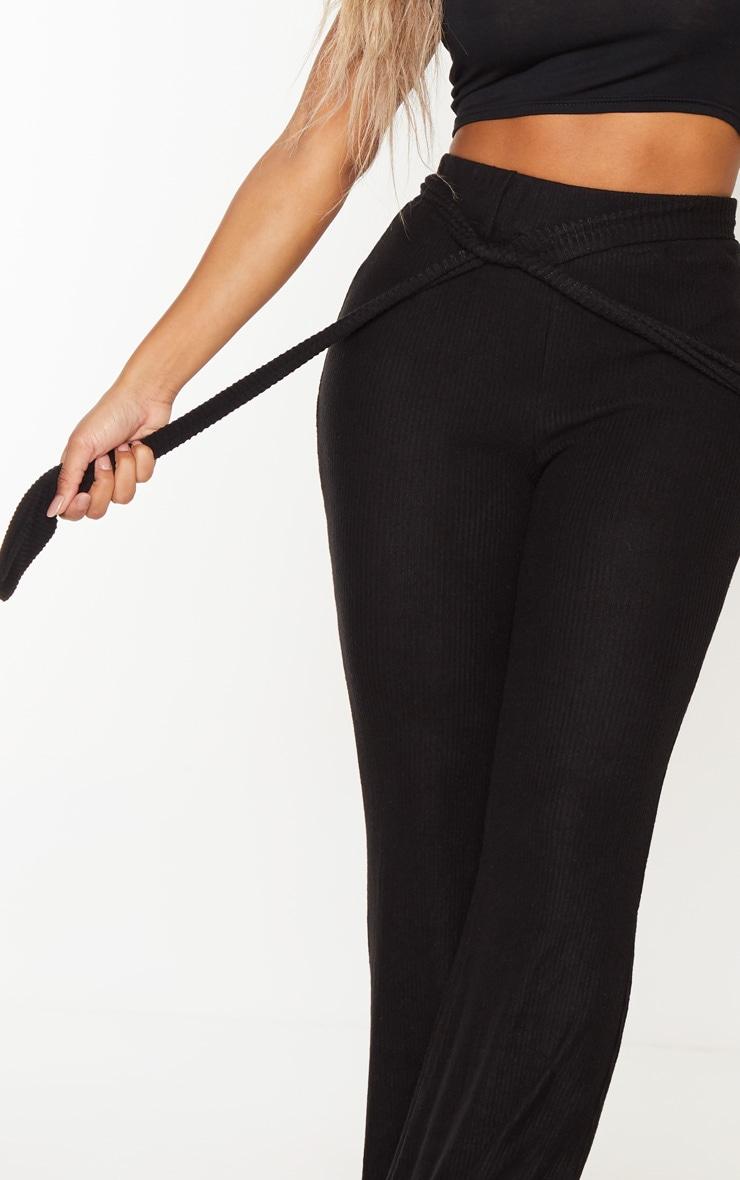 Shape Black Brushed Rib Tie Waist Wide Leg Pants 5
