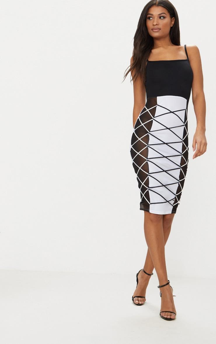 Black Lace Up Detail Square Neck Midi Dress 1