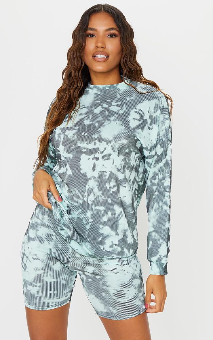 Turquoise Tie Dye Print Oversized Long Sleeve Sweater 1