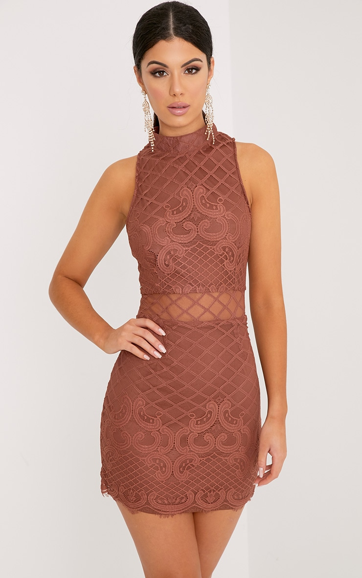 Aura Tobacco Lace Up Back Bodycon Dress 1