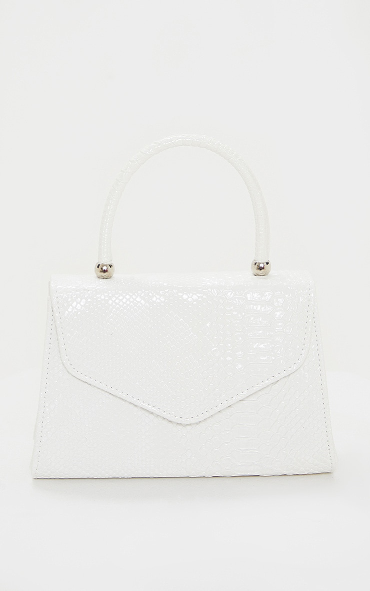 White Croc PU Envelope Grab Bag 2