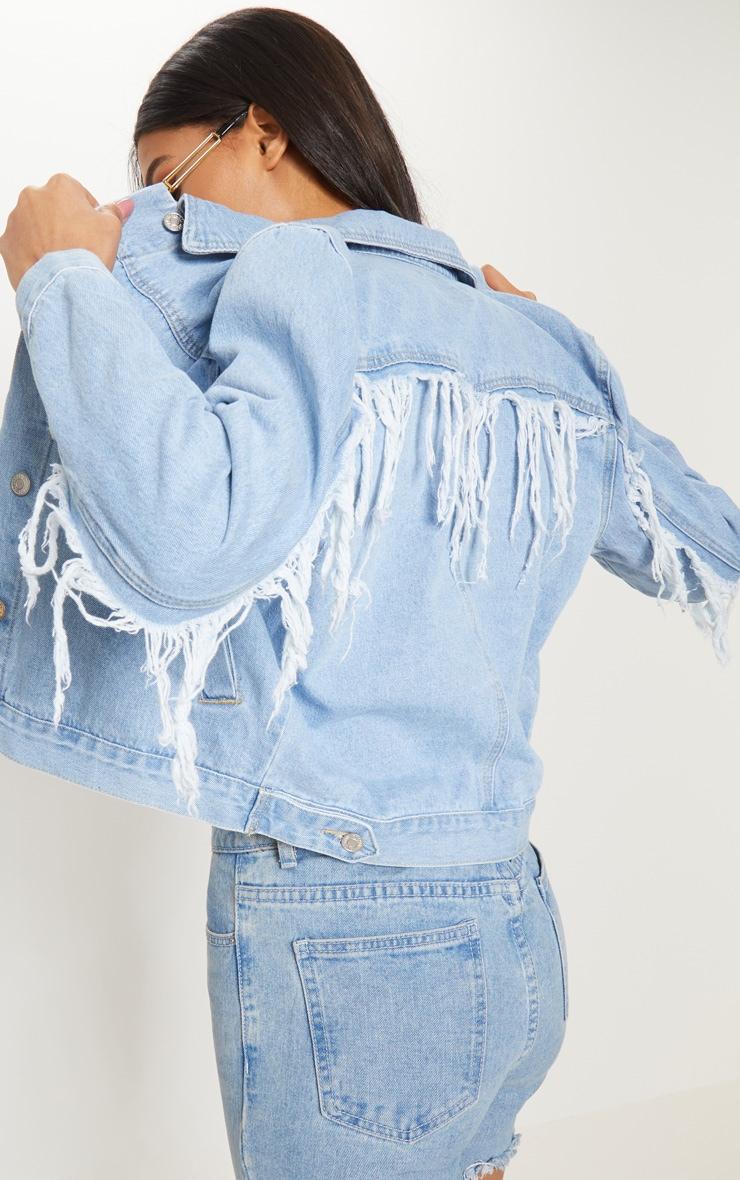 Light Wash Fringe Back Denim Jacket 5
