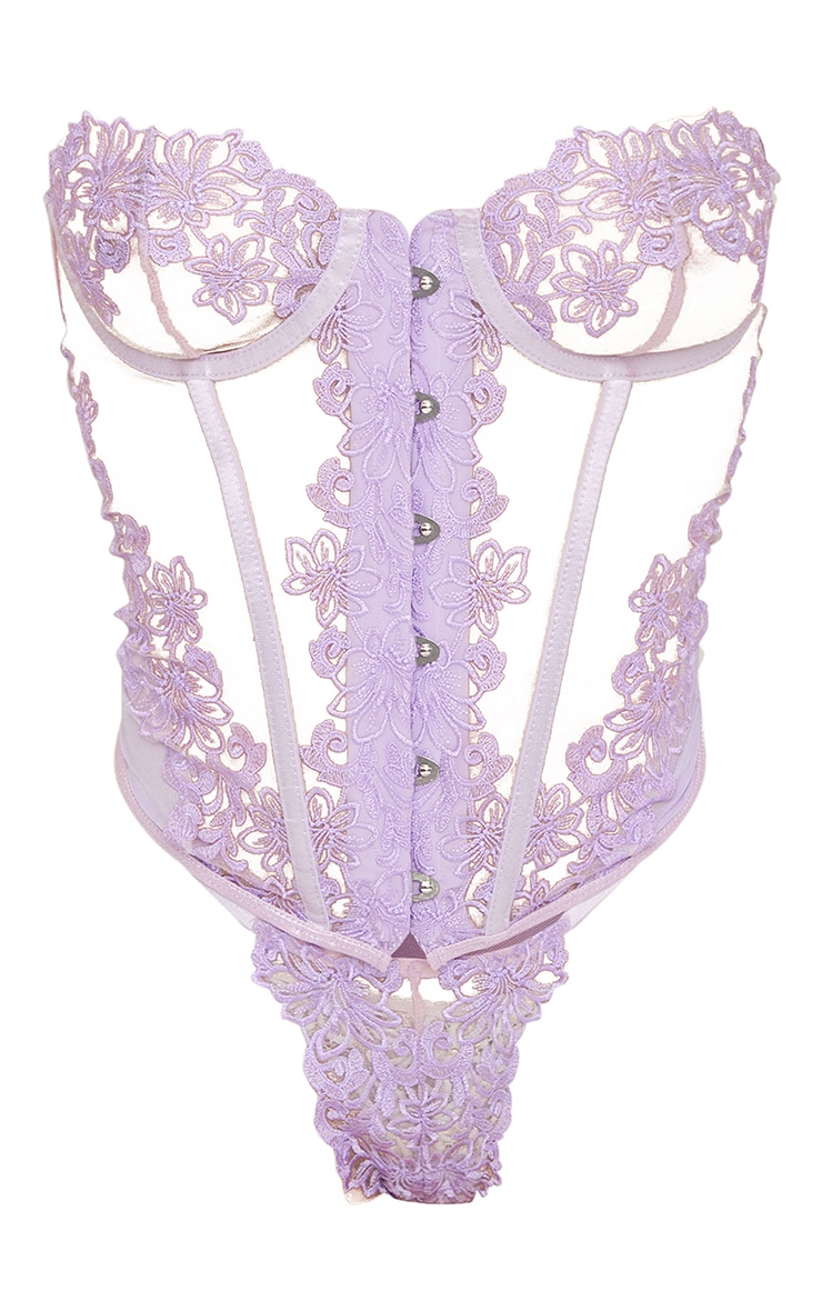 Lilac Floral Embroidered Corset Lingerie Set 5