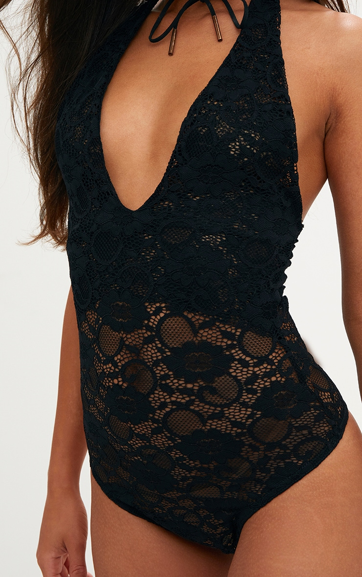 Black Sheer All Over Lace Halterneck Body 5