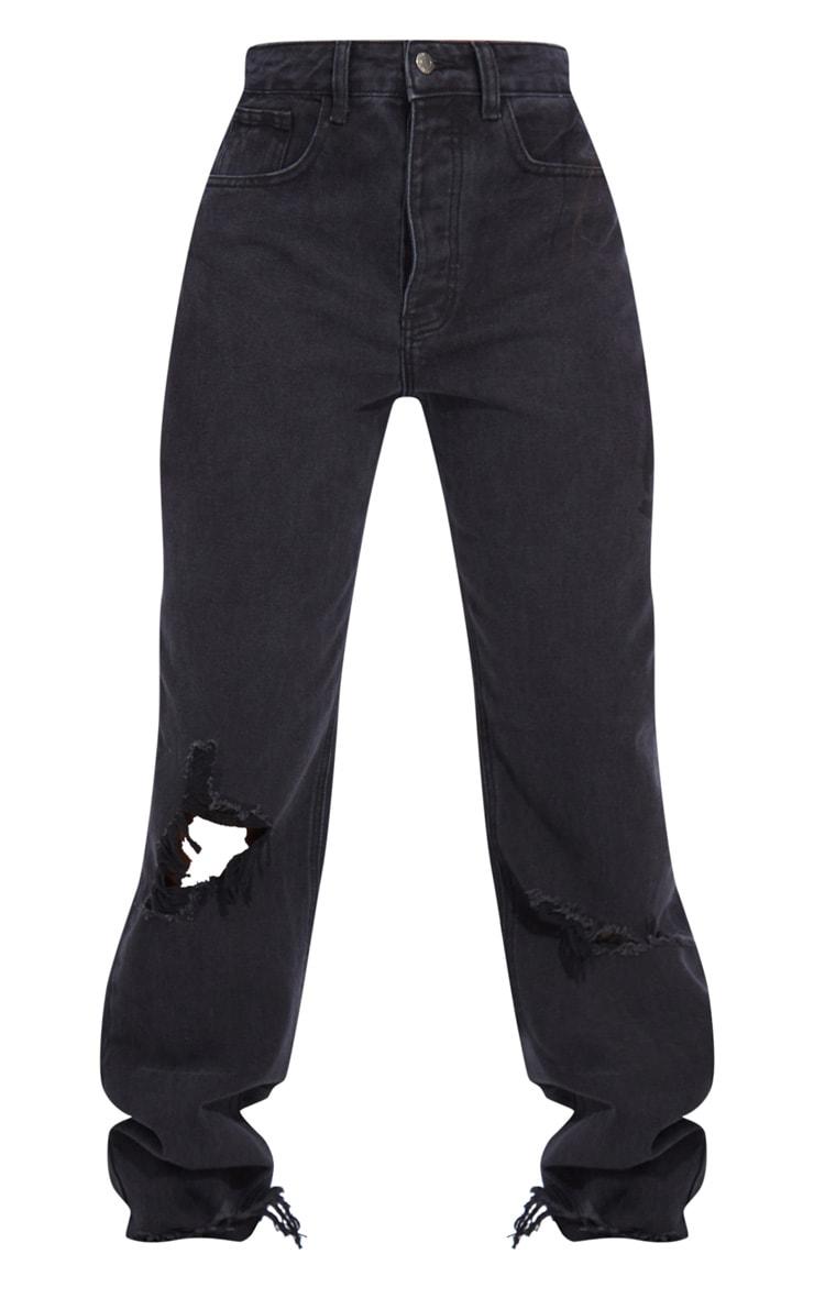 PRETTYLITTLETHING Tall Washed Black Distressed Hem Boyfriend Jeans 5