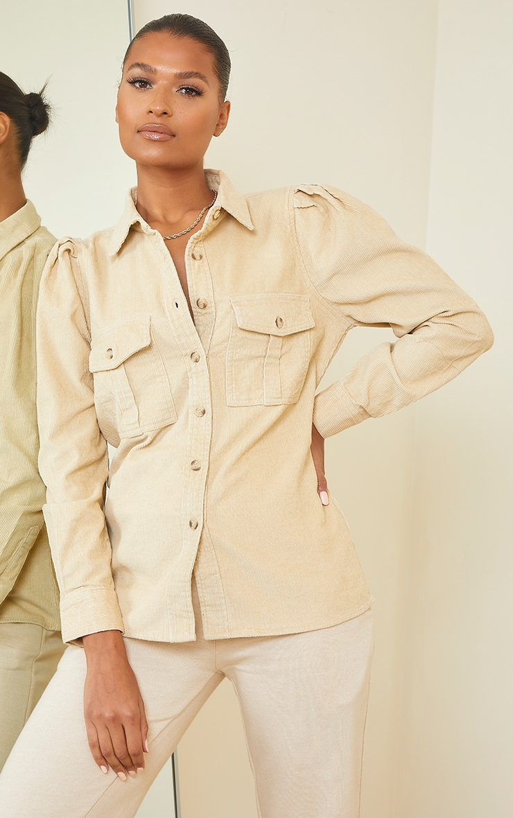Stone Balloon Sleeve Cord Shirt 3