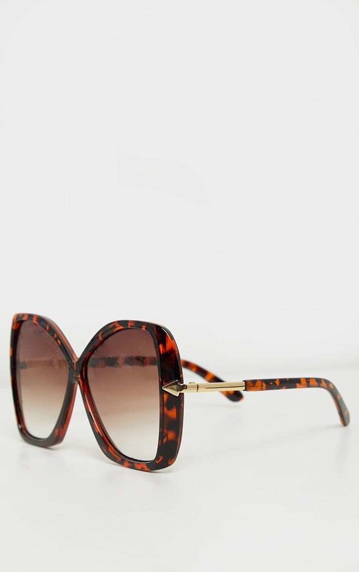Tortoiseshell Oversized Angled Square Sunglasses 3