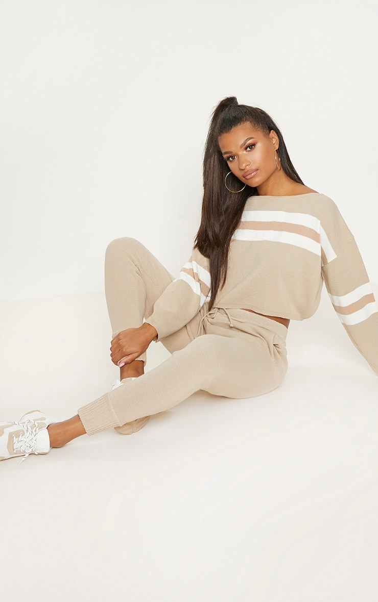 Stone  Striped Knitted Lounge Set  4