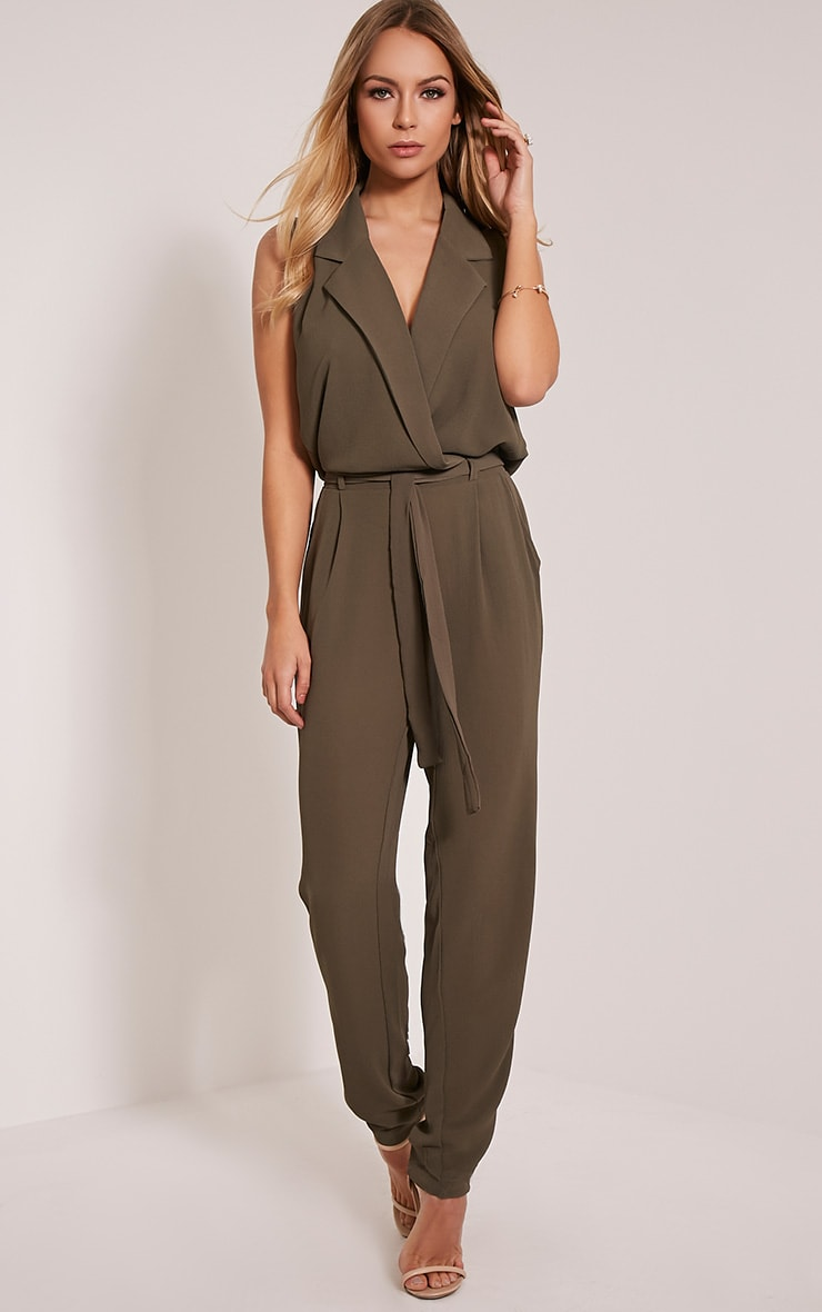 Marsa Khaki Sleeveless Wrap Jumpsuit 1