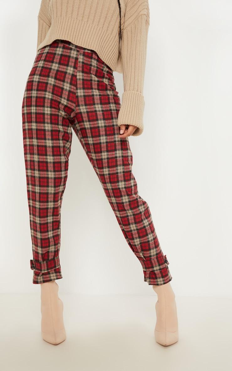 Red Check Peg Leg Pants 2