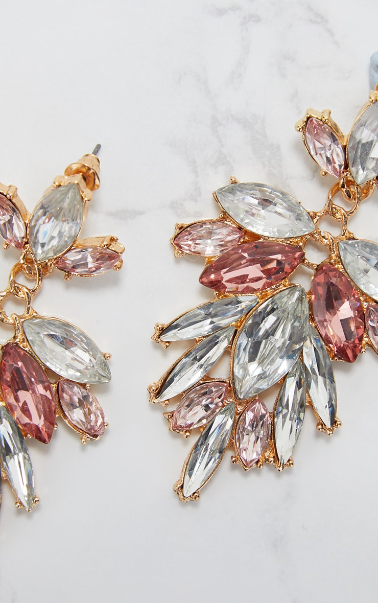 Pink Drop Diamante Stone Earrings  4