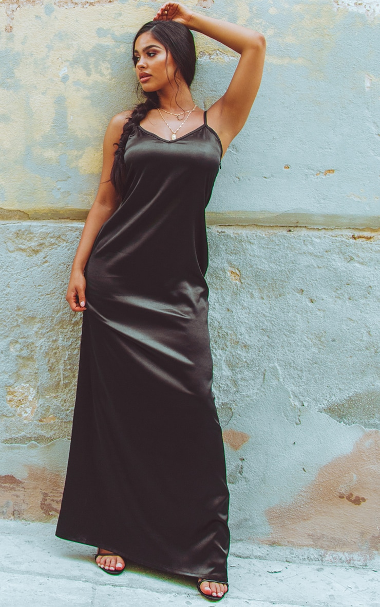 Black Satin V Neck Maxi Dress  1