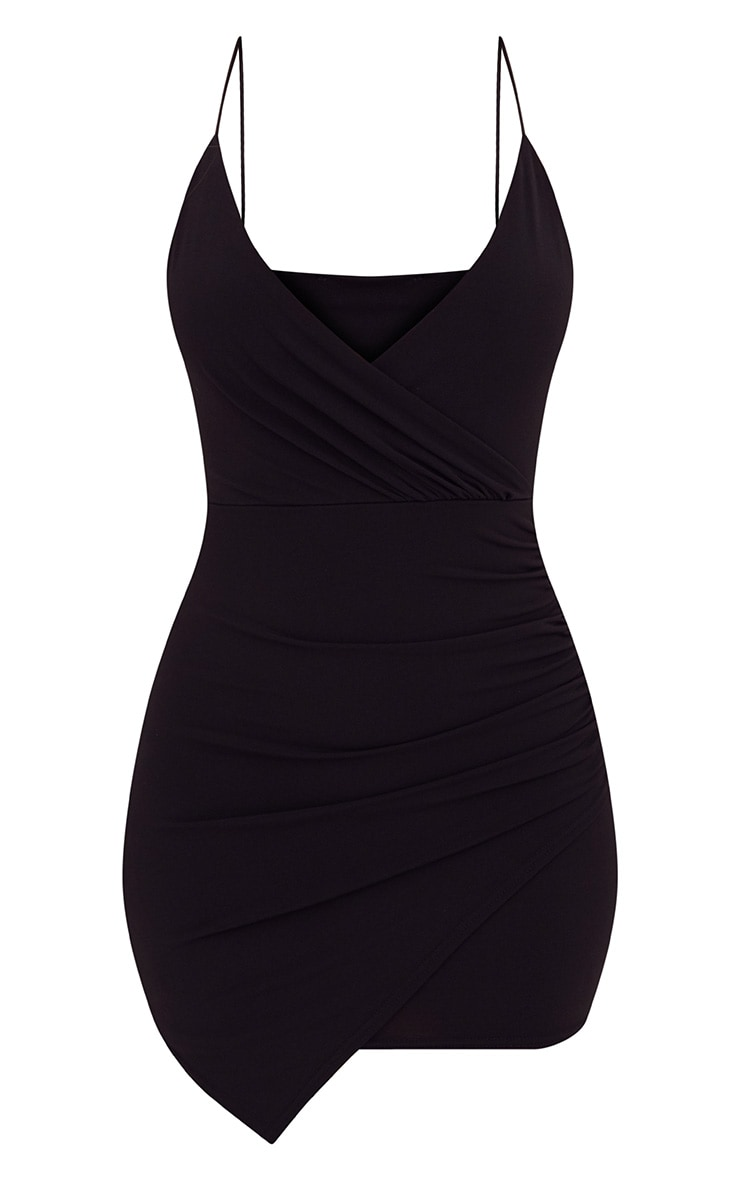 Black Slinky Wrap Strappy Bodycon Dress 3