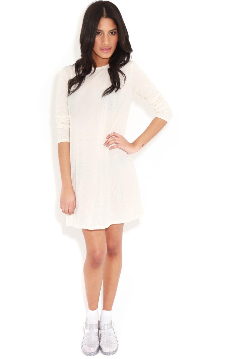Callie Beige Long Sleeve Swing Dress 3
