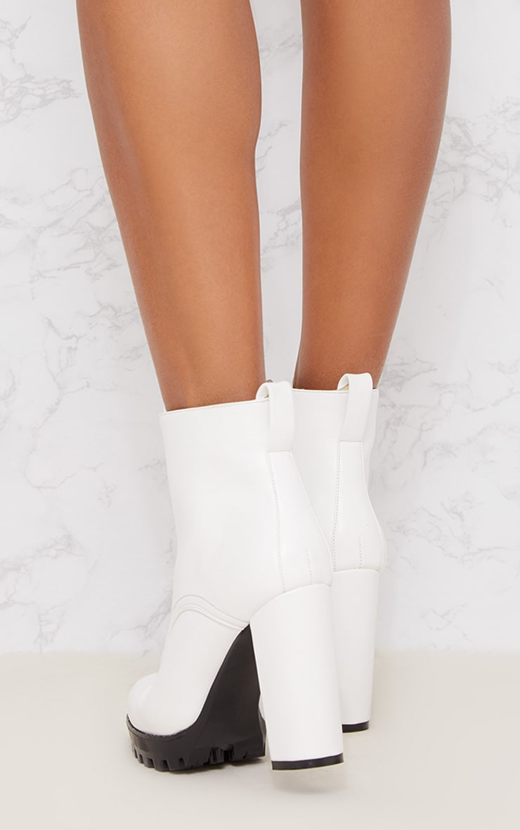White Platform Cleated Zip Front Ankle Boot 4