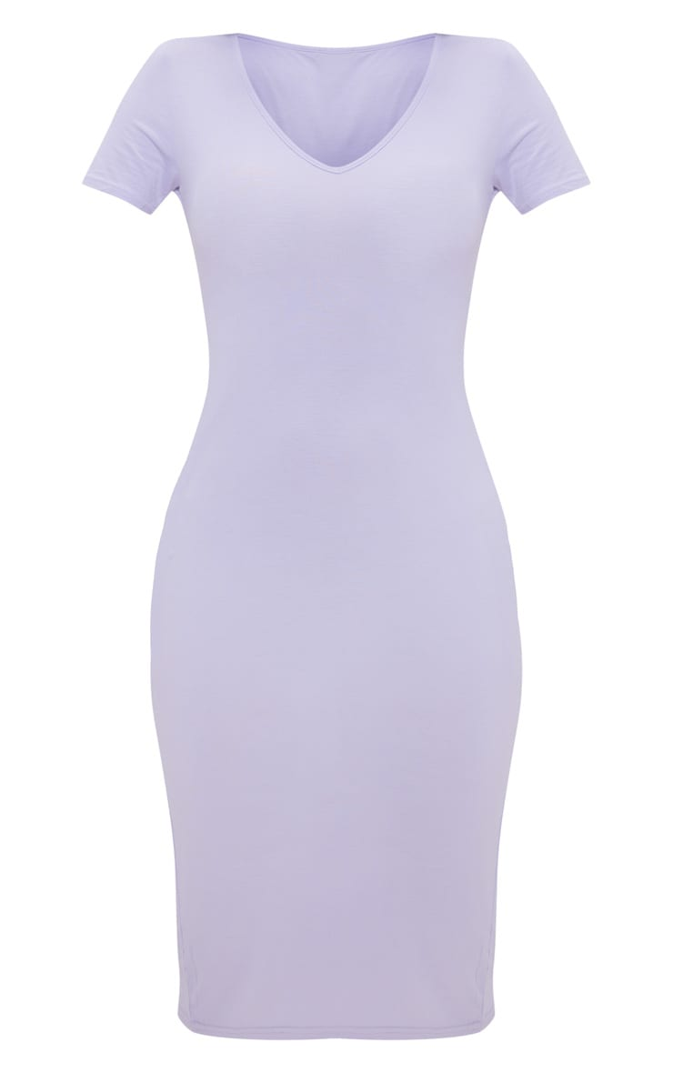 Lilac V Neck Midi Bodycon Dress 3
