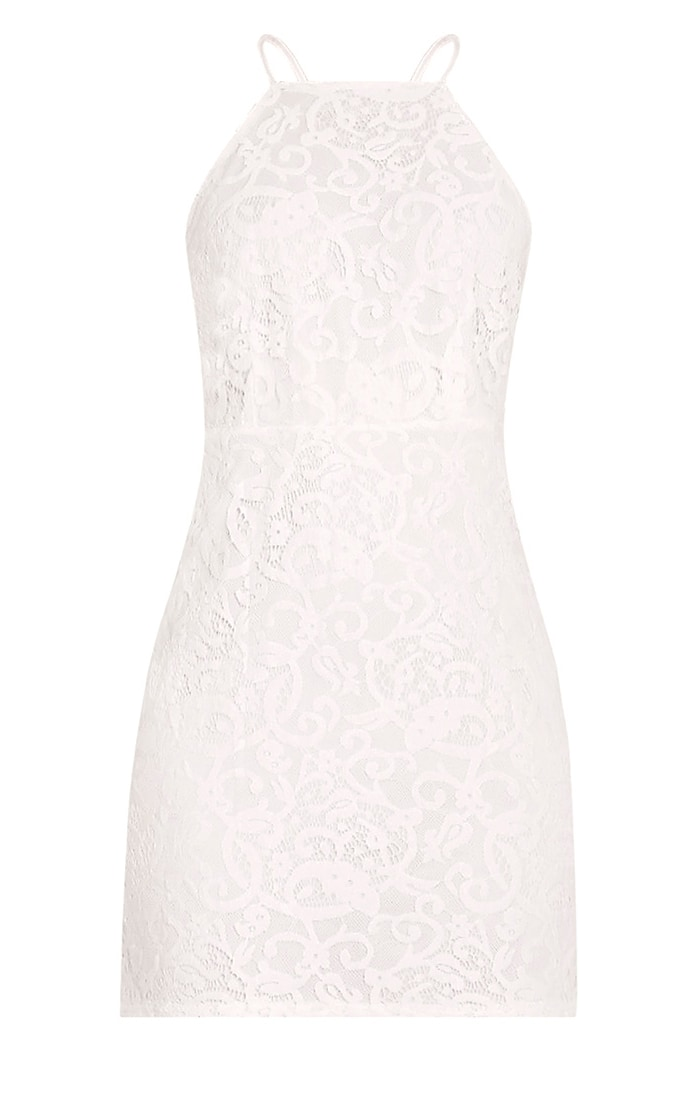 Elora White Cross Back Lace Mini Dress 3
