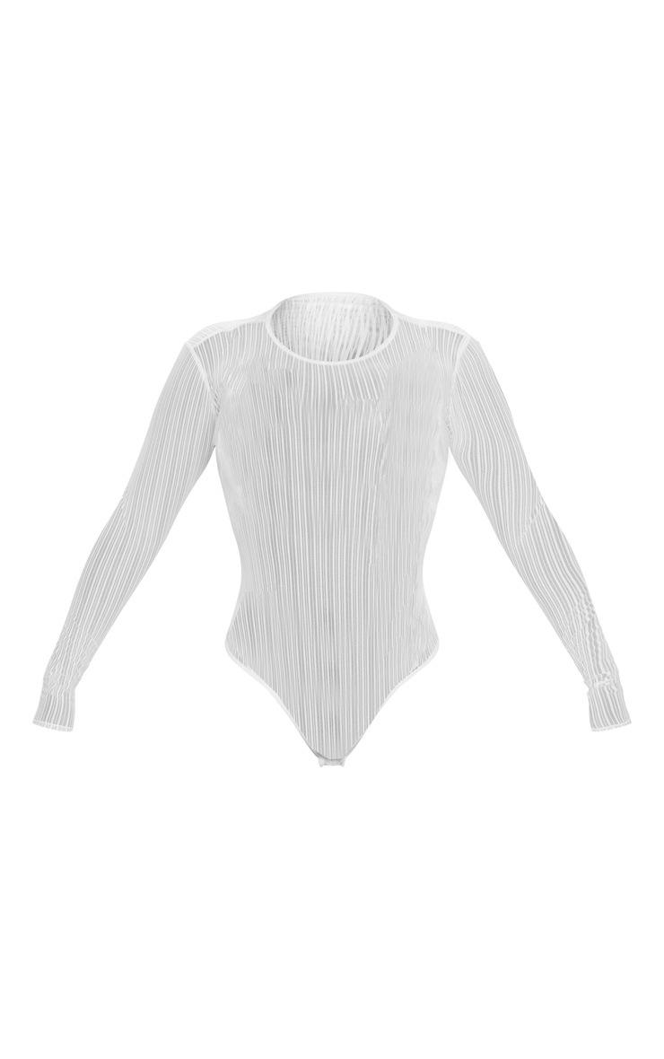 White Mesh Cut Out Back Bodysuit 5