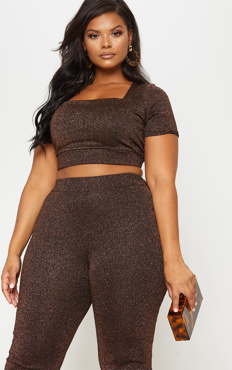 Bronze Metallic Square Neck Crop Top 2