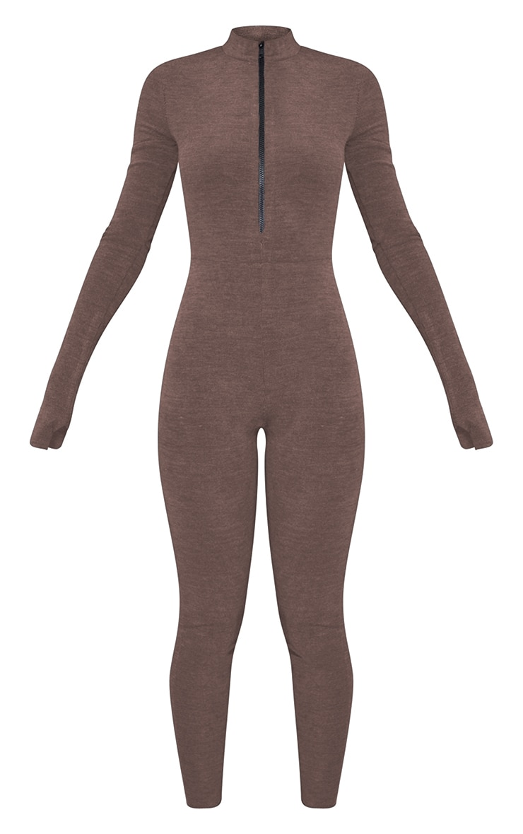 PRETTYLITTLETHING Chocolate Embroidered Cuff Rib Catsuit 5