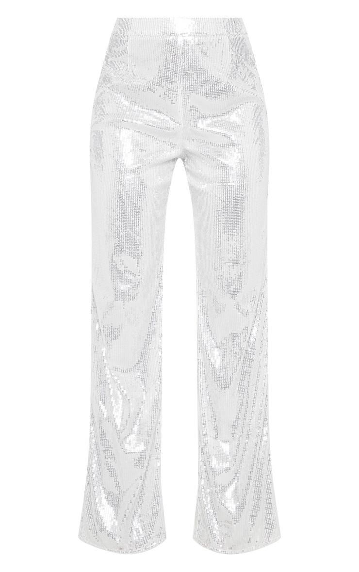 Silver Sequin Wide Leg Pants 3