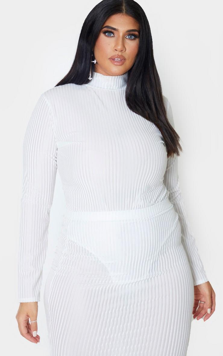 Plus Cream Striped Velvet Bodysuit 1