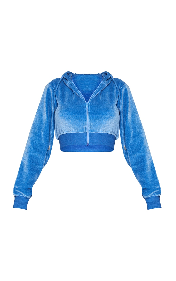 PRETTYLITTLETHING Shape Blue Velour Extreme Crop Sweater 5