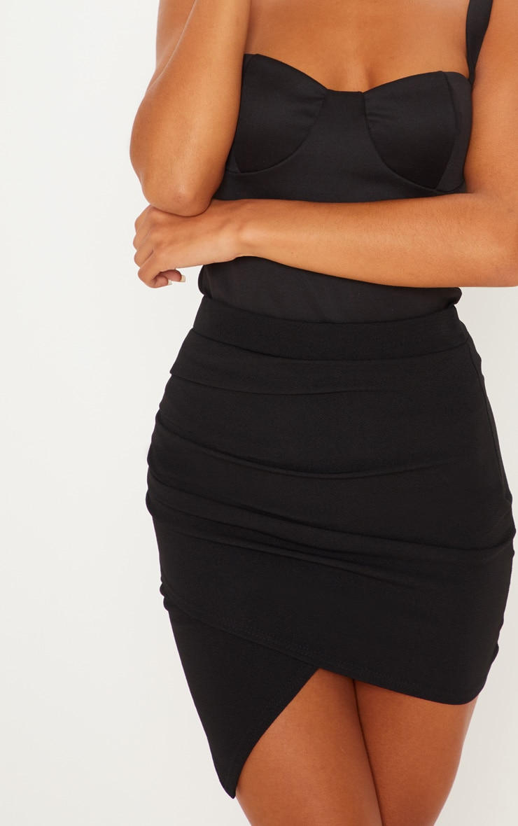 Black Ruched Wrap Mini Skirt 6
