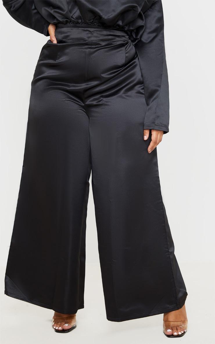 Plus Black Structured Satin Wide Leg Trouser 2