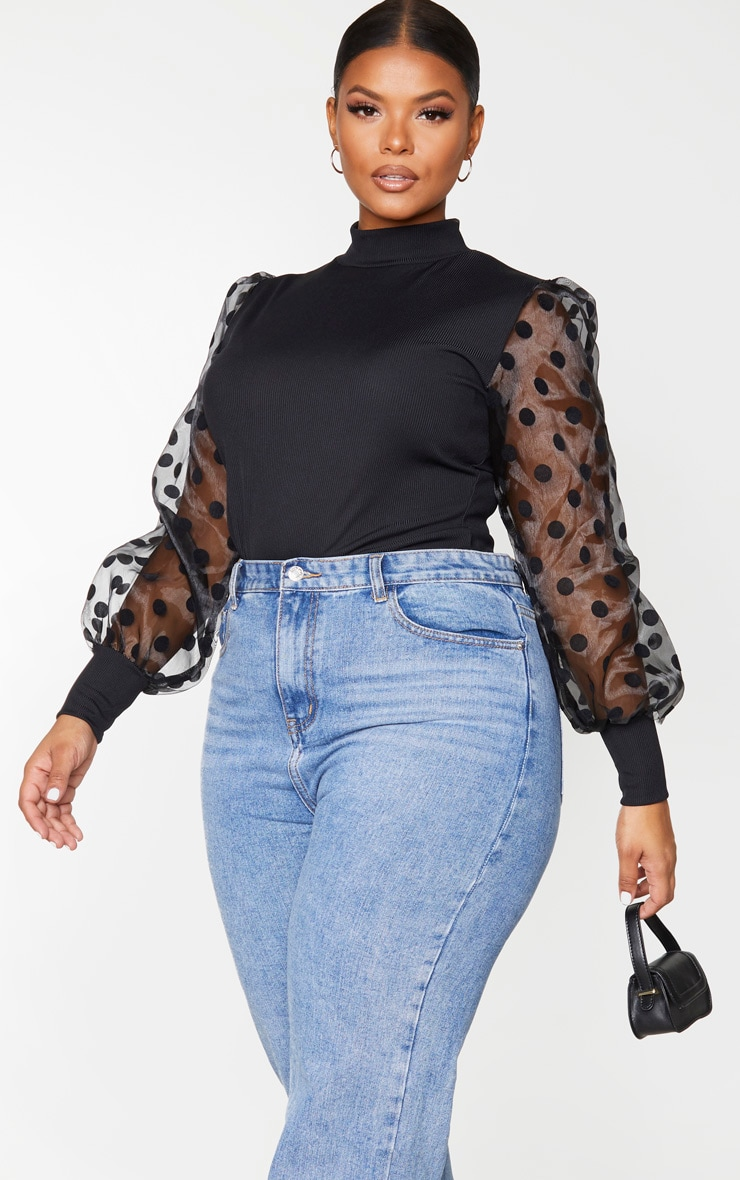 Plus Black Rib High Neck Sheer Polka Dot Puff Sleeve Long Top 1