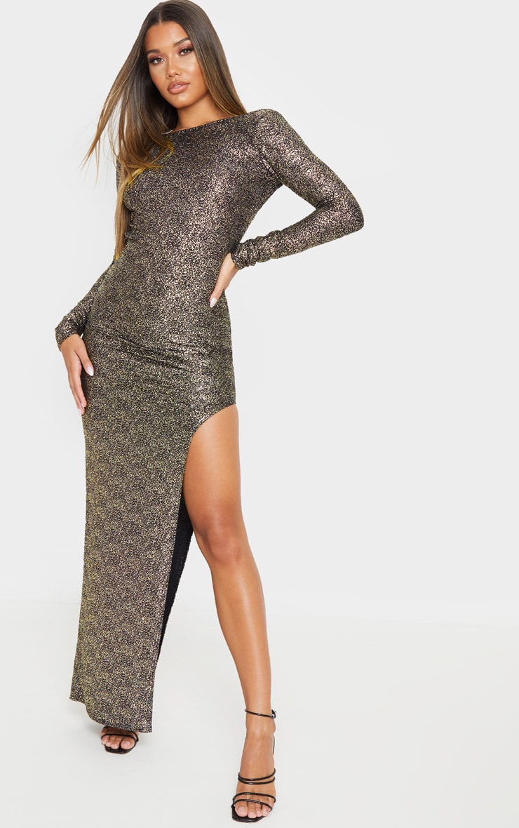 Gold Foil Backless Long Sleeve Maxi Dress 4