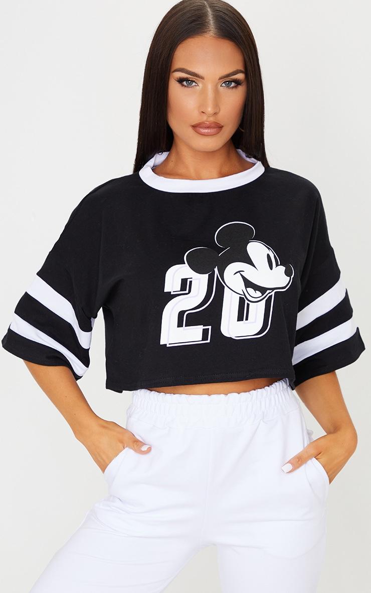 Black Disney Mickey Mouse Crop T Shirt 1
