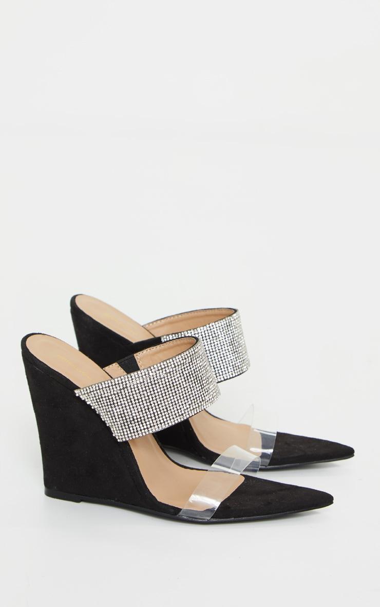 Black Diamante Strap Pointed Toe Wedge Heels 3