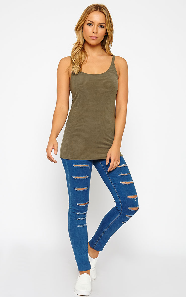 Basic Khaki Ribbed Vest Top 3