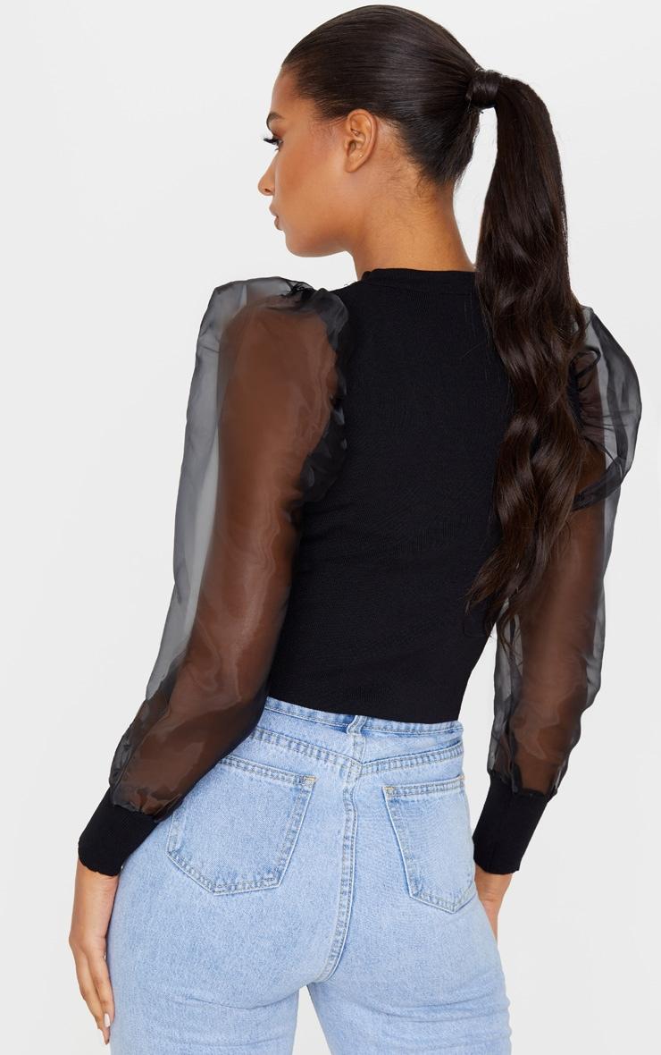 Black Organza Puff Sleeve Sweater 2