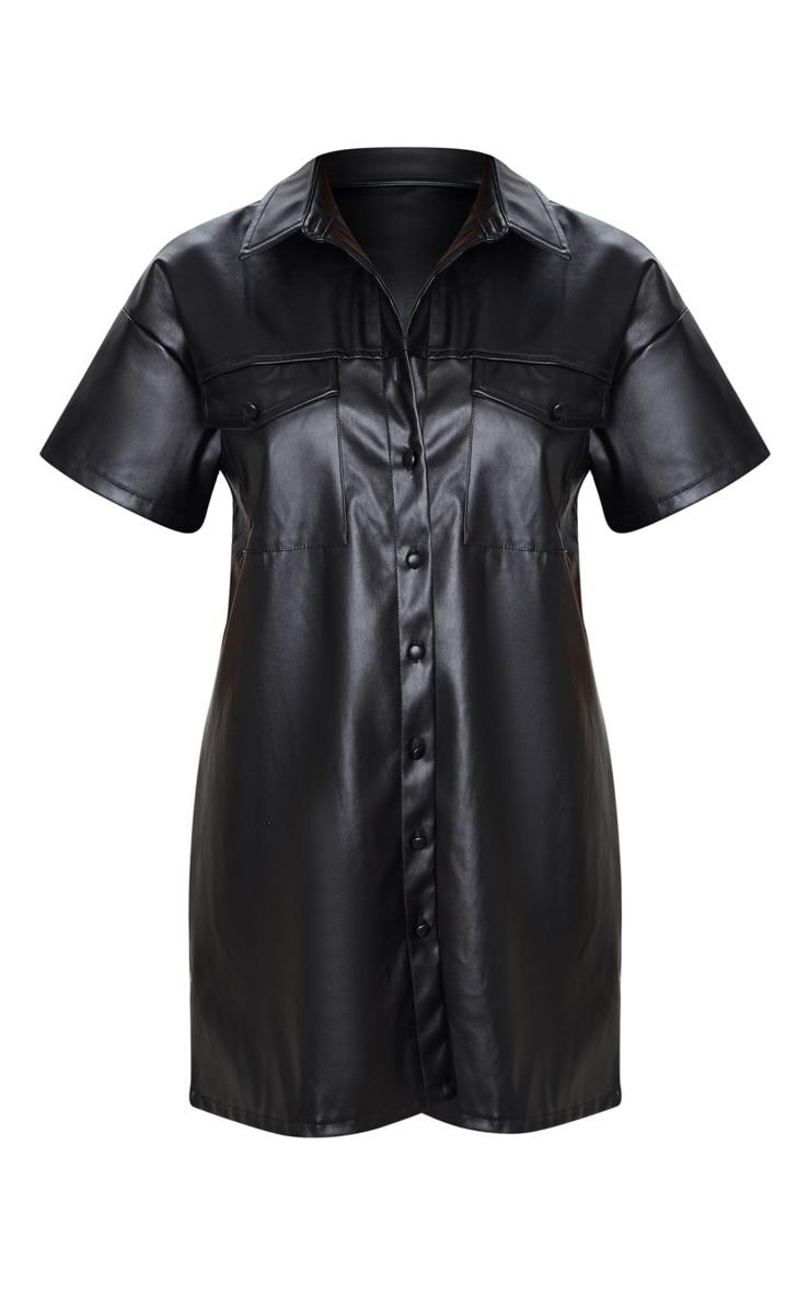 Black Faux Leather Short Sleeve Shirt Dress 3