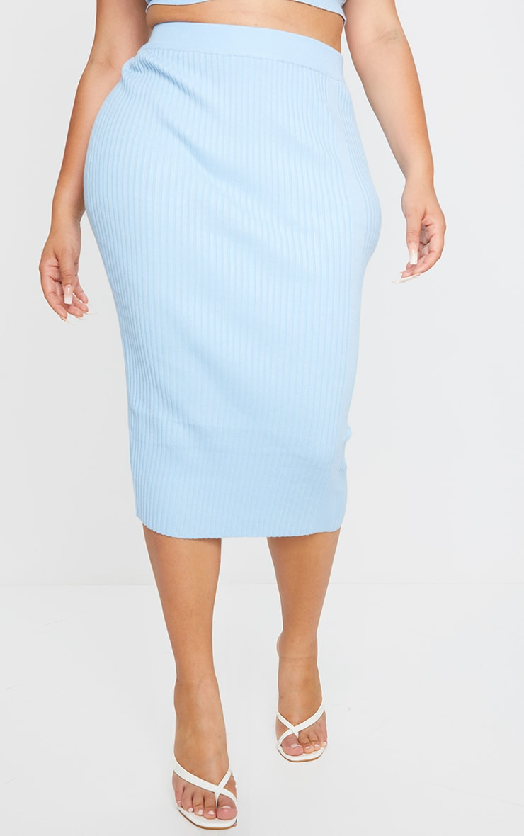 Plus Dusty Blue Rib Knit Midi Skirt 2