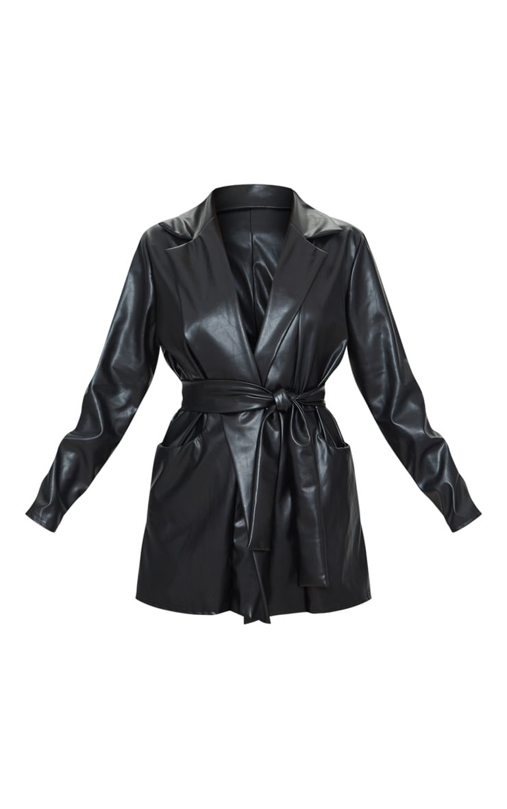 Petite Black Oversized PU Wrap Blazer 5