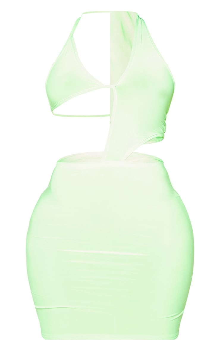 Shape Lime Slinky Triangle Detail Cut Out Bodycon Dress 5