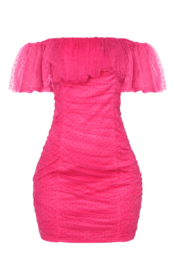 Hot Pink Dobby Mesh Ruffle Bardot Bodycon Dress 3
