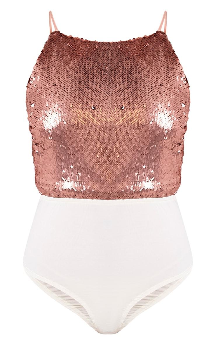 Lore Bronze Sequin Thong Bodysuit 3