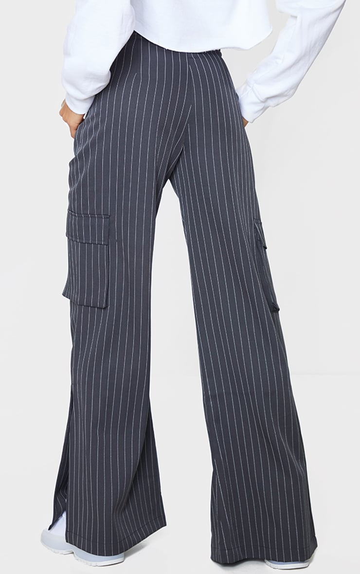 Charcoal Pinstripe Wide Leg Pocket Detail Trousers 3