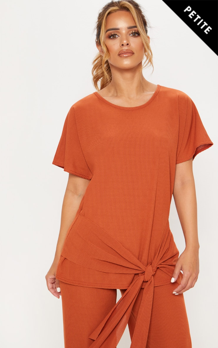 Petite Rust Ribbed Wrap Detail T-Shirt