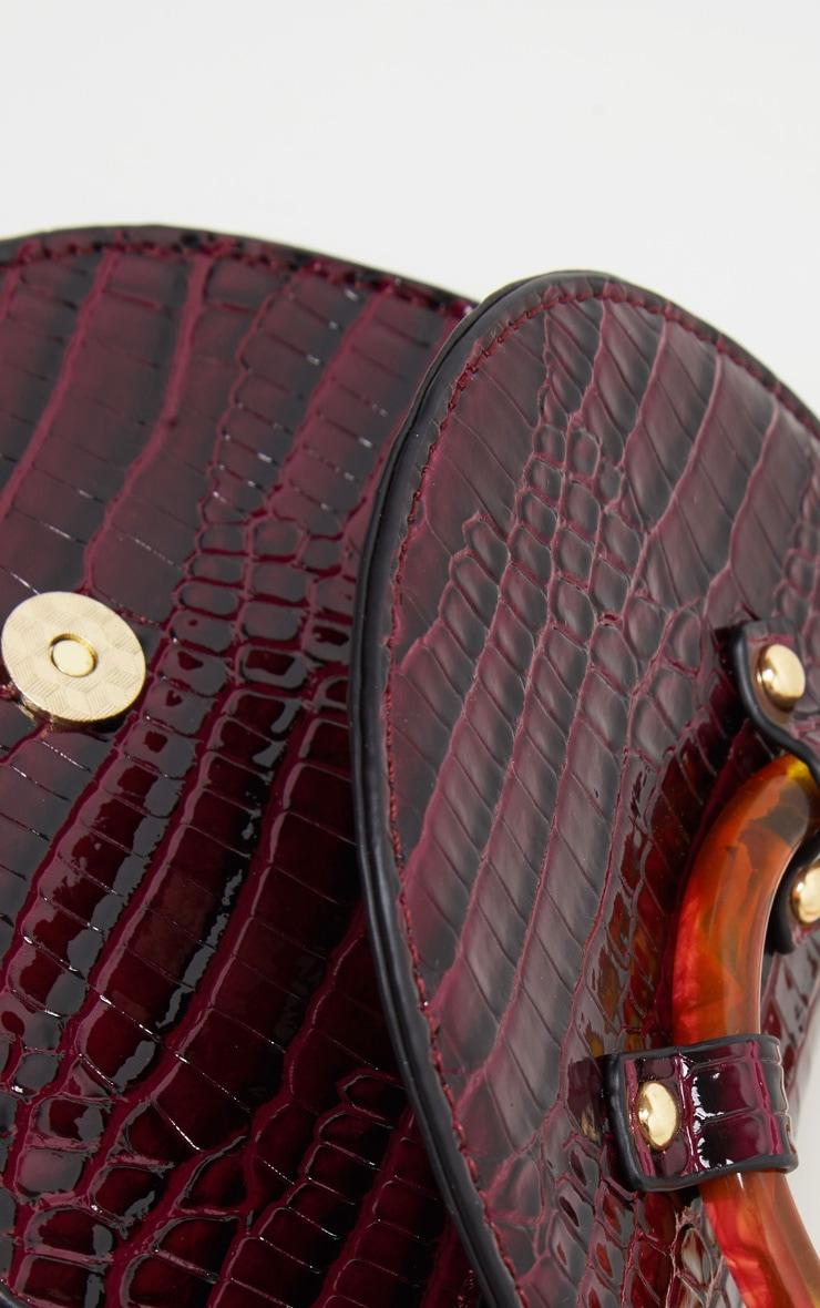Burgundy Patent Croc Half Moon Mini Bag 4