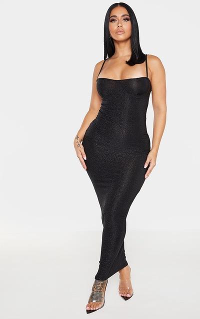 Shape Black Glitter Skinny Strap Cup Detail Midaxi Dress