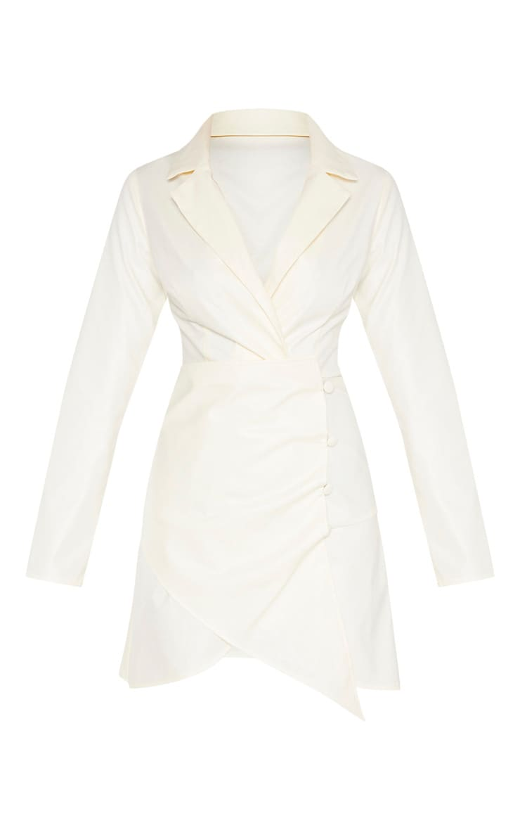 Cream Faux Leather Long Sleeve Button Up Detail Bodycon Dress 3