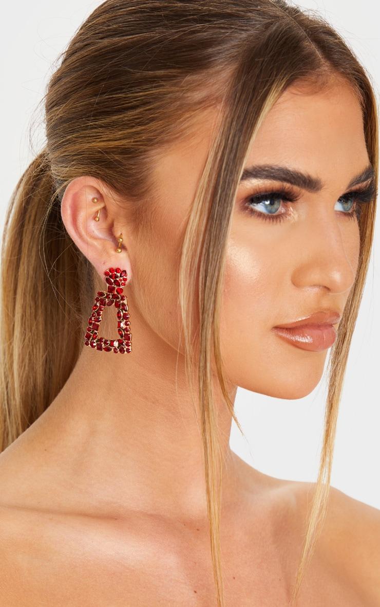 Red Crystal Multi Shape Small Door Knocker Earring 1