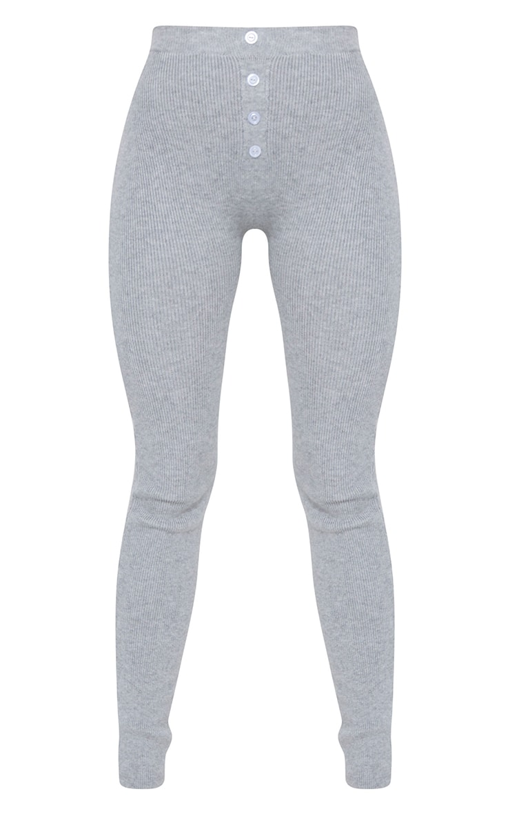 Grey Ribbed Knitted Button Detail Leggings 5