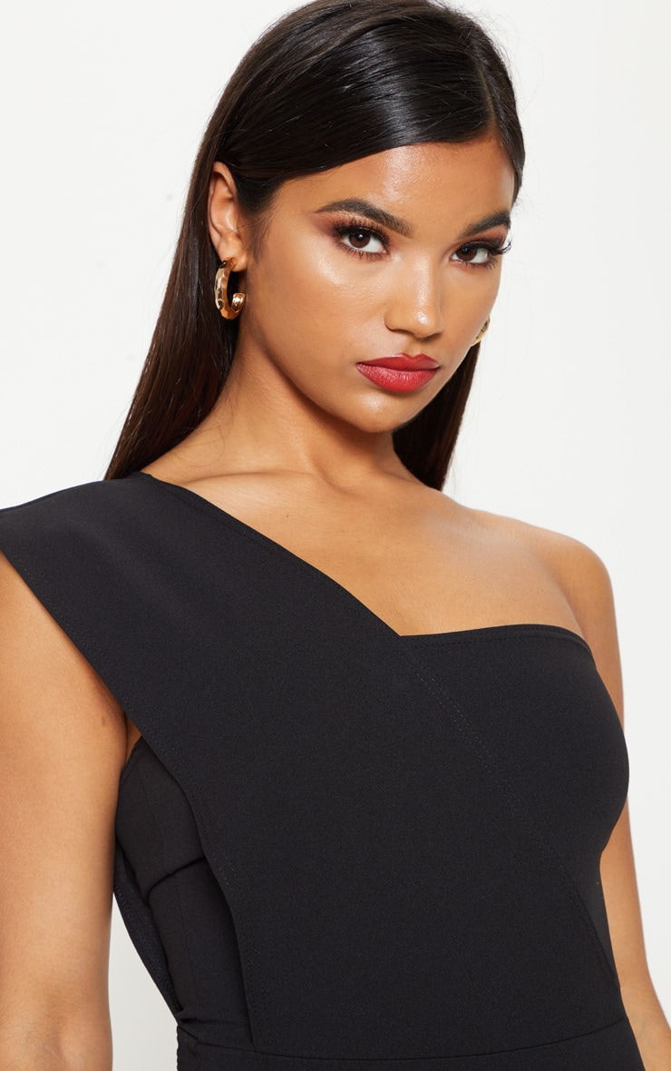 Black One Shoulder Short Sleeve Bodysuit 4